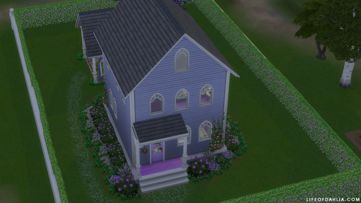 Sims 4 Speed Build – Small Purple House  – One Colour Building Challenge